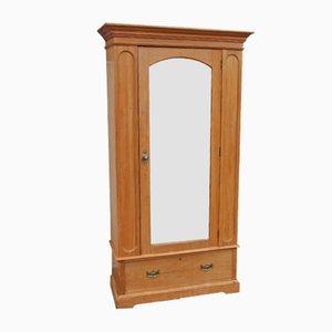 Armadio in legno di noce satinato con specchio, anni '10