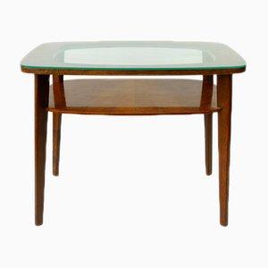 Table Basse Mid-Century Vintage avec Plateau en Verre
