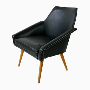 Black Leatherette Armchair, 1960s
