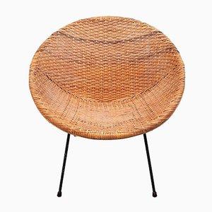 Mid-Century Stuhl aus Korbgeflecht