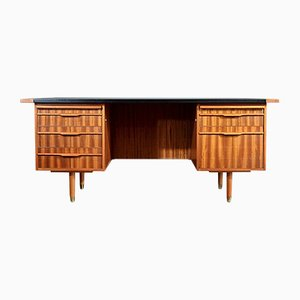 Mid-Century Danish Desk in Walnut and Leather