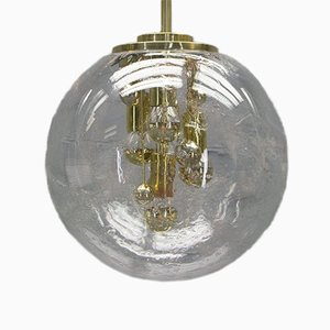 Brass & Glass Globe Chandelier from Doria, 1970s