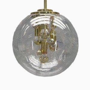 Lámpara de araña esférica de latón y vidrio de Doria, años 70