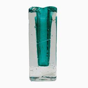 Vaso vintage in vetro verde sommerso, Scandinavia, anni '70