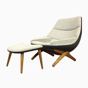 ML91 Lounge Chair & Stool by Illum Wikkelsø for A. Mikael Laursen, 1960s