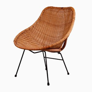Italian Modern Rattan Easy Chair with High Back, 1950s
