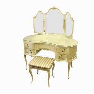 Cream Kidney Shaped Dressing Table and Stool, 1960s