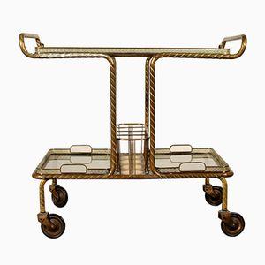 Vintage Italian Brass & Glass Bar Cart, 1950s