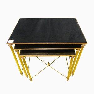 Tavolini ad incastro in ottone, anni '70