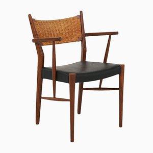 Esszimmerstühle mit Gestell aus Teak & Rückenlehne aus Schilfrohrgeflecht, 1960er, 4er Set