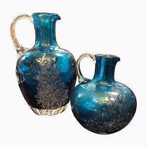Jarras vintage de vidrio azul de Schott Zwiesel, años 80. Juego de 2