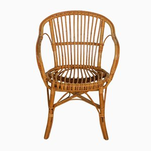 Italian Rattan Wicker Chairs, 1970s, Set of 2