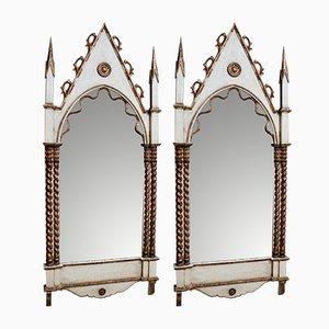 Specchi gotici dorati, Scozia, fine XIX secolo, set di 2