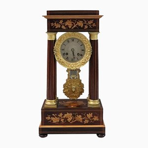 Antique French Rosewood & Satinwood Portico Mantel Clock, 1970s