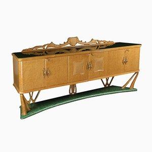 Mueble vintage de madera nudosa chapada, latón y vidrio, años 50