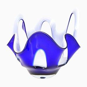Cuenco italiano de vidrio en azul cobalto de Cristalleria Fratelli Betti, años 60