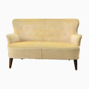 Mid-Century Dutch Yellow Velvet Sofa by Theo Ruth for Artifort, 1950s