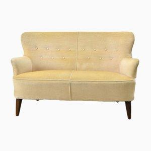 Niederländisches Mid-Century Sofa mit gelbem Samtbezug von Theo Ruth für Artifort, 1950er