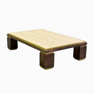 Large Mid-Century Travertine Coffee Table from Belgo Chrom, 1970s
