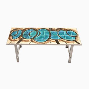 Mid-Century Blue Ceramic Coffee Table from De Nisco, 1970s