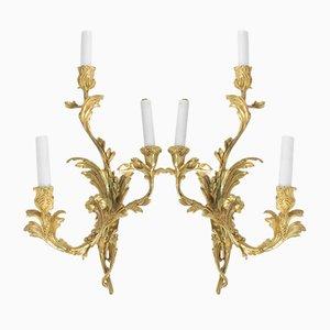 Antique Louis XV Style Gilt Bronze Sconces, Set of 2