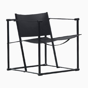 Vintage Model FM60 Black Leather Cube Chair by Radboud Van Beekum for Pastoe, 1982