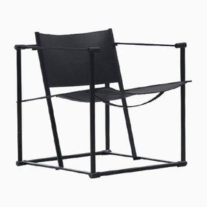 Vintage Model FM60 Black Leather Cube Chair by Radboud Van Beekum for Pastoe, 1982