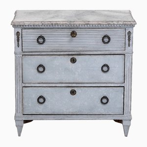 Antique Gustavian Style Carved Dresser with Painted Faux Marble Top