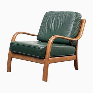 Chaise en Hêtre et Cuir Vert, 1960s