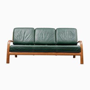 Green Leather & Beech Sofa, 1960s