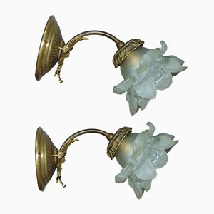 Brass Sconces, 1940s, Set of 2