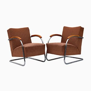 Tubular Steel Fn 21 Cantilever Armchairs from Mücke Melder, 1930s, Set of 2