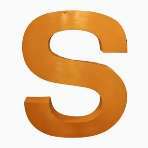 Large Vintage Industrial Lacquered Metal Letter S, 1960s