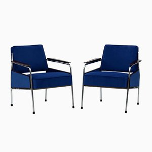 Art Deco Tubular Steel Armchairs, 1930s, Set of 2