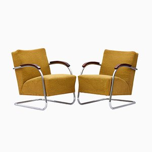 Model 21 Tubular Steel Cantilever Armchairs from Mücke & Melder, 1930s, Set of 2
