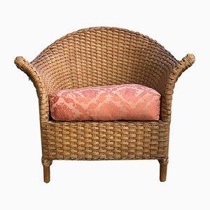Italienischer Vintage Sessel aus Korbgeflecht, 1980er