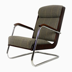 Vintage Bauhaus Cantilever Armchair in Checkered Grey Fabric, 1940s