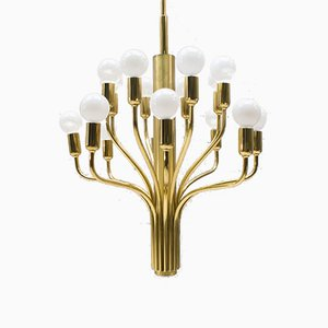 Large Mid-Century German Sputnik Brass Chandelier from WKR Leuchten, 1970s