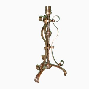 Antike Art & Crafts Lampe mit Bronzefuß von William Benson
