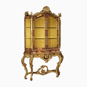 Vintage Italian Lacquered & Gilded Wood Showcase