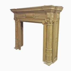 Caminetto grande in stile Haussmann antico in quercia
