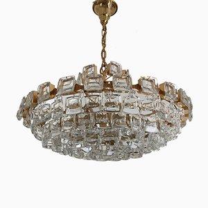 Lámpara de araña brutalista grande de latón dorado y cristal de Palwa