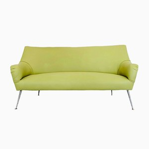 Grünes italienisches Mid-Century Nappa Sofa