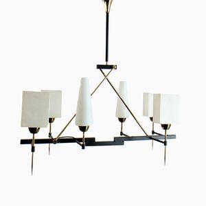 Chandelier with Glass Diffusers from Arlus, 1950s