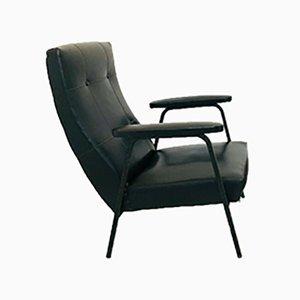 Italienischer Sessel mit Bezug aus schwarzem Skai, 1970er