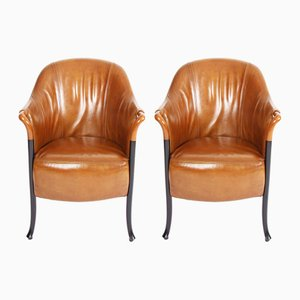 Tan Leather Armchairs by Giorgetti, 1980s, Set of 2