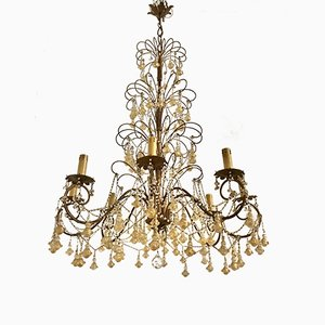 Lámpara de araña Macaroni vintage grande de cristal de Murano