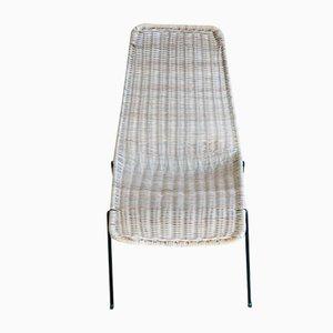 Chaise d'Appoint Vintage en Osier, 1960s