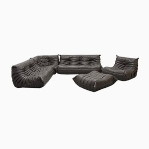 Vintage Dark Gray Leather Togo Living Room Set by Michal Ducaroy for Ligne Roset, 1980s, Set of 5