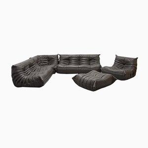 Vintage Dark Gray Leather Togo Living Room Set by Michal Ducaroy for Ligne Roset, 1980s, Set of 5